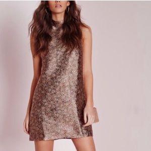 Missguided Mockneck Metallic Shift Dress